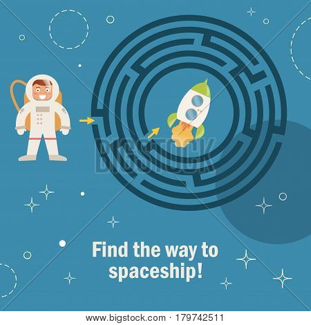 Maze game for kids. Vector illustration. Isolated art on white background. Flat. Space