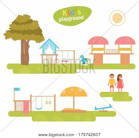 Children's playground. Kids boy and girl. Vector. Cartoon. Isolated Flat Illustration