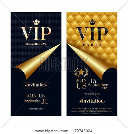 VIP party premium invitation card poster flyer set. Black and golden design template. Quilted colorful pattern decorative background with golden curled paper.