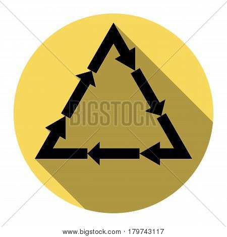 Plastic recycling symbol PVC 3 , Plastic recycling code PVC 3. Vector. Flat black icon with flat shadow on royal yellow circle with white background. Isolated.