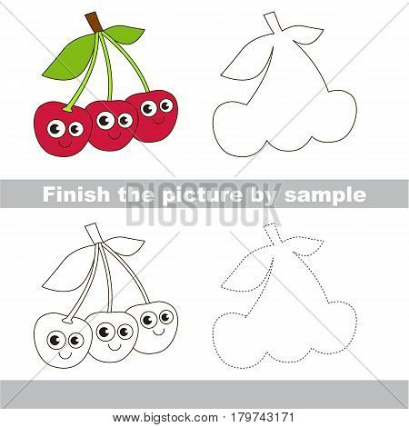 Drawing worksheet for preschool kids with easy gaming level of difficulty, simple educational game for kids to finish the picture by sample and draw the Cute Funny Three Cherries.