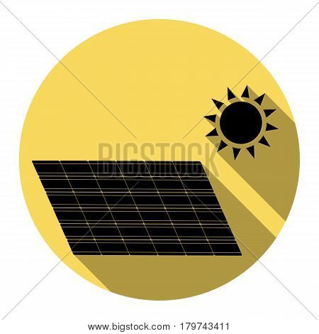 Solar energy panel. Eco trend concept sign. Vector. Flat black icon with flat shadow on royal yellow circle with white background. Isolated.