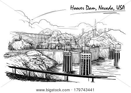 Hoover Dam stunning panoramic view. Black and white linear hand drawing. Sketch style. EPS10 vector illustration.