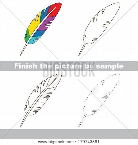Drawing worksheet for preschool kids with easy gaming level of difficulty, simple educational game for kids to finish the picture by sample and draw the Colorful Feather