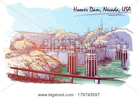 Hoover Dam stunning panoramic view Sketch drawn and painted digitally to give watercolour painting feel. EPS10 vector illustration.