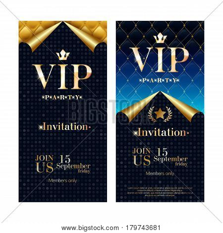 VIP party premium invitation card poster flyer set. Black, blue and golden design template. Quilted colorful pattern decorative background with golden curled paper. Glow effect.