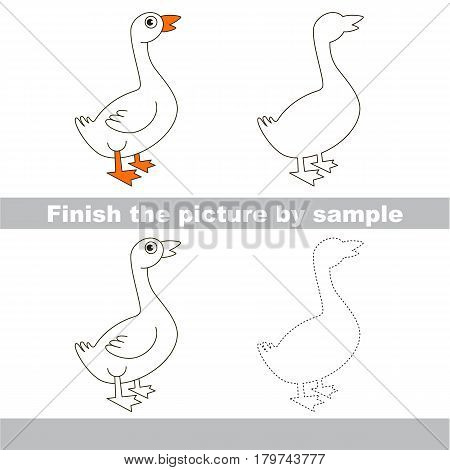 Drawing worksheet for preschool kids with easy gaming level of difficulty, simple educational game for kids to finish the picture by sample and draw the Beautiful White Goose