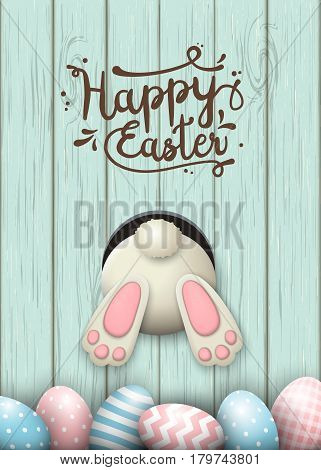 Easter motive, white bunny bottom and easter pink and blue eggs and fresh grass on blue wooden background with text Happy Easter, vector illustration, eps 10 with transparency and gradient meshes