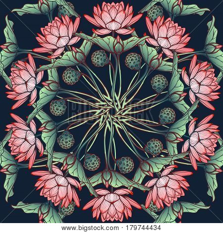 Lotus background. Circular Floral pattern with water lilies isolated on a deep blue background. EPS10 vector illustration.