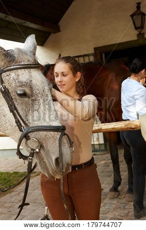 Young woman caressing horse over stall.