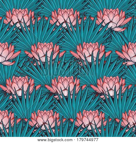 Lotus background. Floral seamless pattern with water lilies and fan palm tree leaves on deep blue background. EPS10 vector illustration.