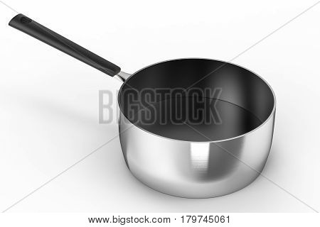 3d rendering empty saucepan on white background