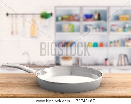 Empty Pan With Kitchen Background
