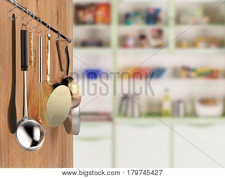 Kitchen Rack Hanging With Kitchen Background