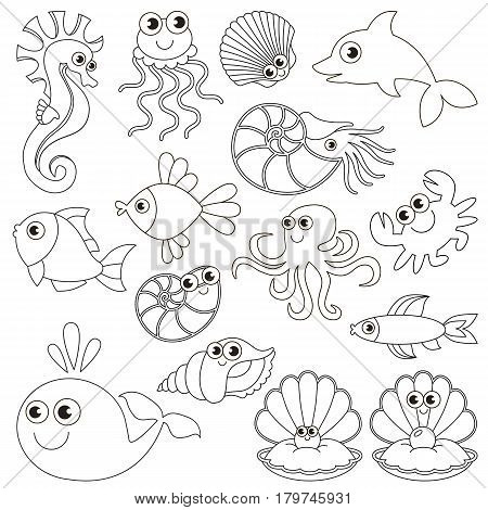 Sea underwater animals set to be colored, the big coloring book for preschool kids with easy educational gaming level.