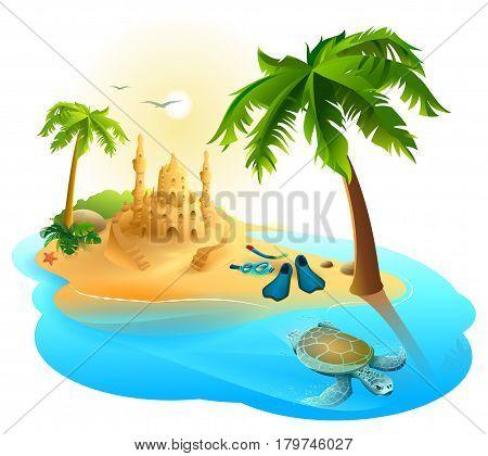 Tropical island paradise beach. Palm tree, sand castle, fins, sea turtle. Isolated on white vector cartoon illustration