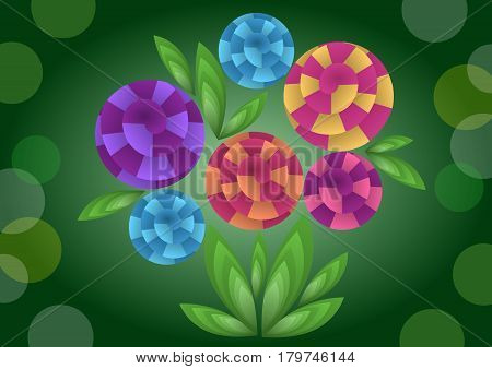 Cubist bouquet with colorful flowers 3d effect optical illusion decoration on dark green background nice spring or summer illustration vector EPS 10