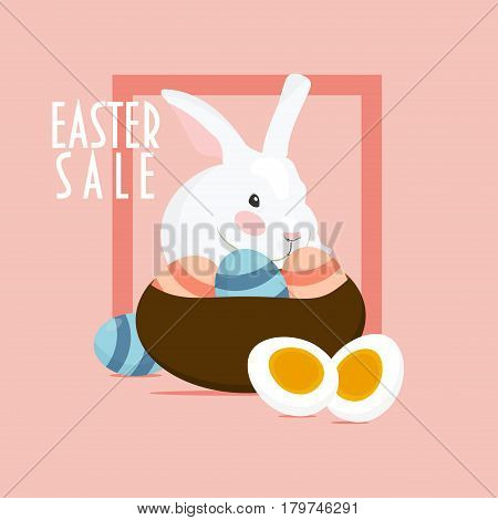 Easter Sale promotion template. Easter Rabbit or Hare with basket of easter eggs.
