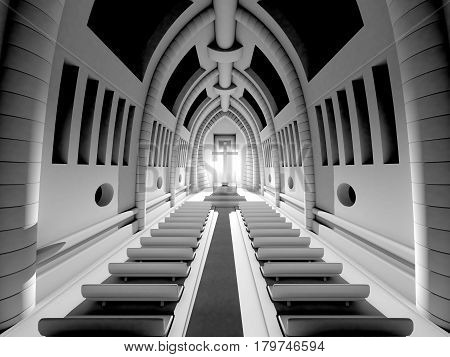 3D Illustration of a Interior of a christian Cathedral.