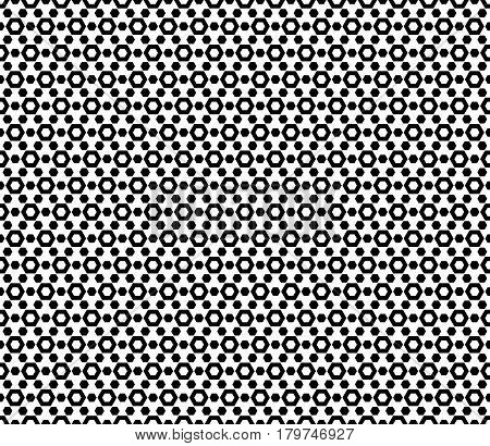 Vector monochrome seamless pattern. Simple geometric texture with hexagonal shapes. Repeat tiles, endless pattern. Black & white abstract background. Design for textile, fabric, clothes, furniture, prints, decor