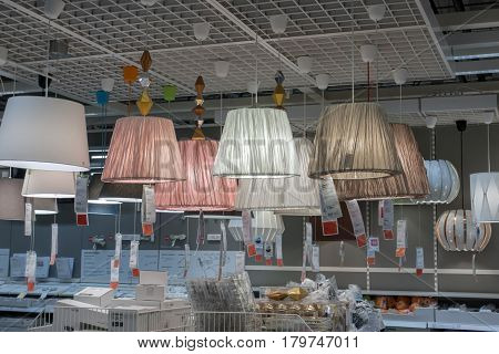 Moscow, Russia - March 23, 2017: Home Depot Lighting Department In Ikea