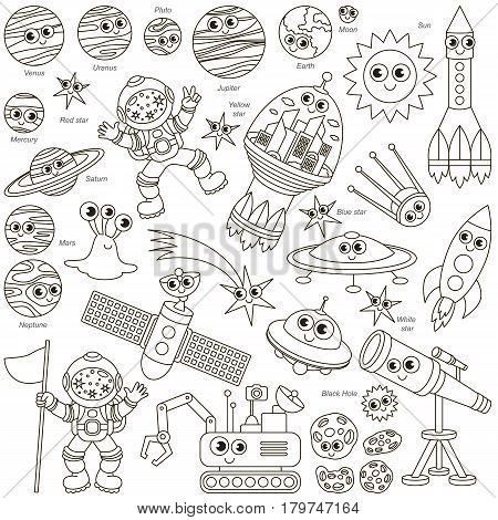 Colorless Space Kid elements set, collection of coloring book template, the group of outline digital elements vector illustration, kid game page.