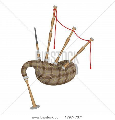 Bagpipes isolated on white background. Wind instrument using enclosed reeds fed from constant reservoir of air in form of a bag. Vector illustration of musical device in flat style realistic design