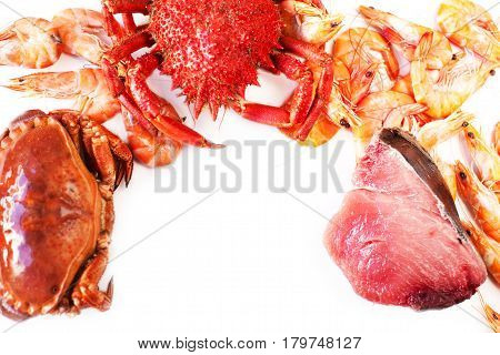 Seafood assortment oisolated on white background close up. Delicious seafood Red Crab