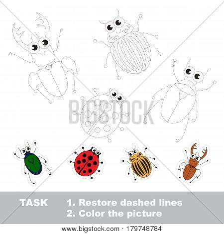 Tracing Chafer, Red Ladybag and Colorado Potato Bug, and Beetle. Cute different insects. Dot to dot educational game for kids.