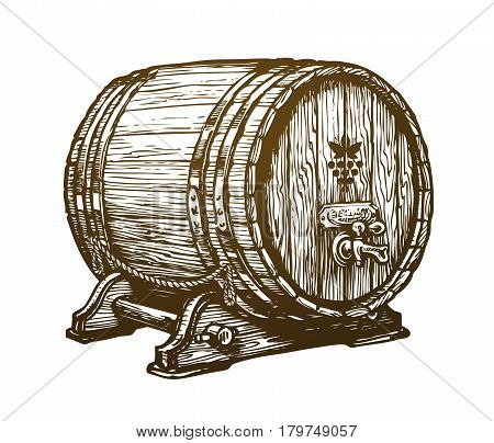 Hand drawn wooden wine cask. Drink, barrel sketch. Vintage vector illustration isolated on white background