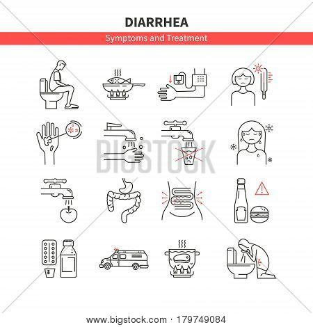 Diarrhea. Causes, symptoms and treatment. Vector set of line icons