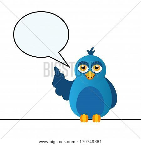 A blue bird sits on the wire and speaks a speech and a bubble of dialogue