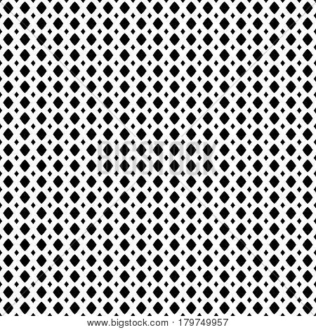 Vector monochrome geometric texture, black & white seamless pattern, simple illustration of mesh, lattice, tissue structure, rhombuses. Abstract repeat background. Design for prints, textile, digital, fabric, furntirue, digital, web