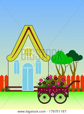 City Background with Suburban House Front View Building and Carriage with flowers. Vector cartoon illustration.
