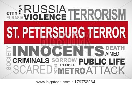 St. Petersburg terror attack - word cloud illustration english