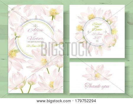 Vector wedding invitations set with light pink lotus flowers on white background. Romantic tender floral design for wedding invitation, save the date and thank you cards