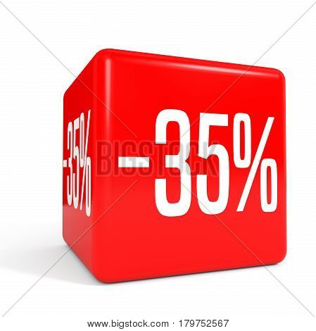Thirty Five Percent Off. Discount 35 %. Red Cube.