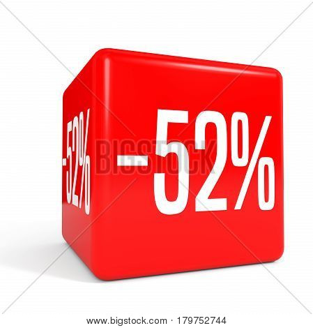 Fifty Two Percent Off. Discount 52 %. Red Cube.