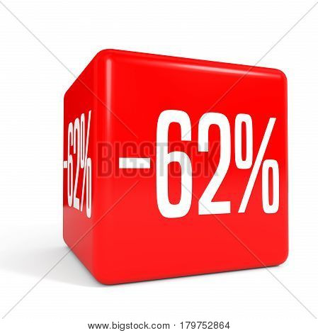 Sixty Two Percent Off. Discount 62 %. Red Cube.