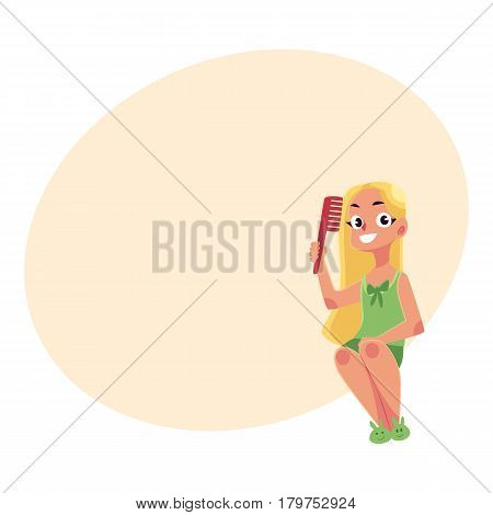 Little girl in nightgown and slippers combing her clean, long, fair hair, cartoon vector illustration with place for text. Girl combing hair, evening routine