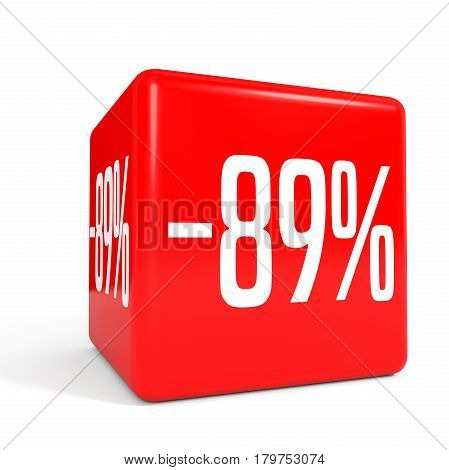 Eighty Nine Percent Off. Discount 89 %. Red Cube.