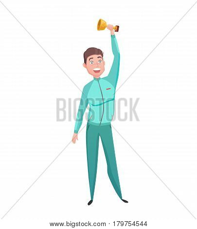 Young sportsman gold cup winner great triumph celebration emotional moment with prize cartoon character abstract vector illustration