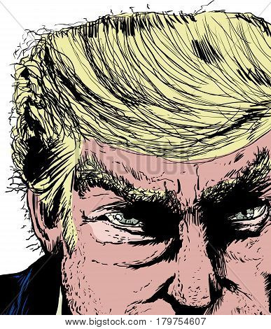 April 1 2017. Close up sketch on face of Donald Trump scowling