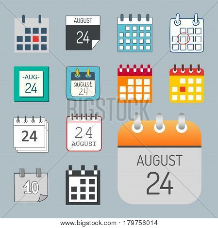 Vector calendar web icons office organizer business graphic paper plan appointment and pictogram reminder element for event meeting or deadline illustration. Modern spiral schedule deadline sign.