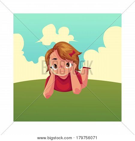 Teenage girl with short brown hair and big eyes lying on green grass under summer sky, colorful cartoon vector illustration. Girl, kid, child lying on the grass, summer vacation concept