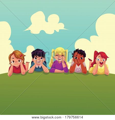 Group of happy children lying on green grass under summer sky, colorful cartoon vector illustration. Kids, children, friends, black and white, lying on the grass together, summer activity