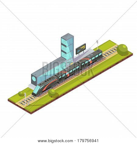 Trains composition of isometric railway passenger train and light rail images with railroad station terminal building vector illustration