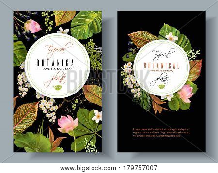 Vector tropical plants vertical banners on black background. Exotic floral design for cosmetics, perfume, health care products, aromatherapy. Can be used as wedding invitation. With place for text.
