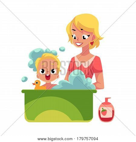 Young mother washing her baby, son, child in bathtub full of foam, cartoon vector illustration isolated on white background. Blond mother washing, bathing baby, child care concept