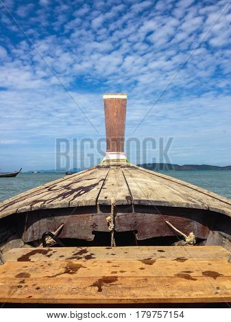 Long boat tranditional of Krabi Thailand, sea and mountain view